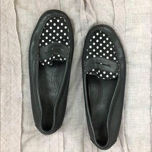 Bass Weejuns Black Loafer w Polka Dot Detail 6.5
